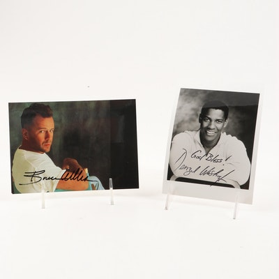 Denzel Washington and Bruce Willis Autographed Photos