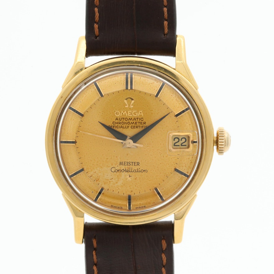 Vintage Omega Constellation 18k Gold Wristwatch With Meister Signed Pie Pan Dial