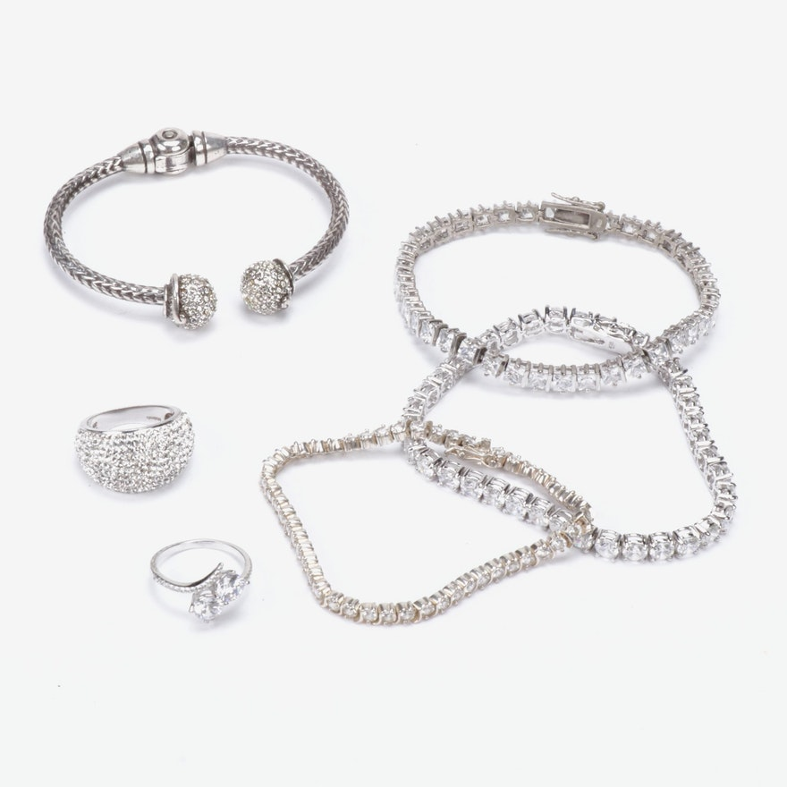 Sterling Silver Jewelry with Cubic Zirconia and Rhinestones