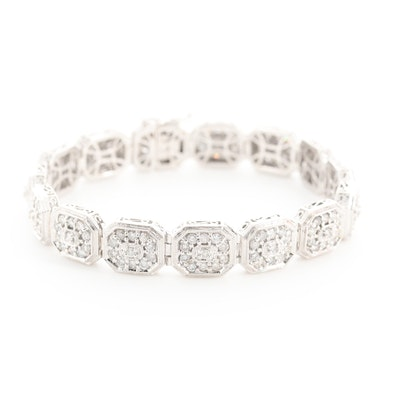 14K White Gold 14.00 CTW Diamond Bracelet