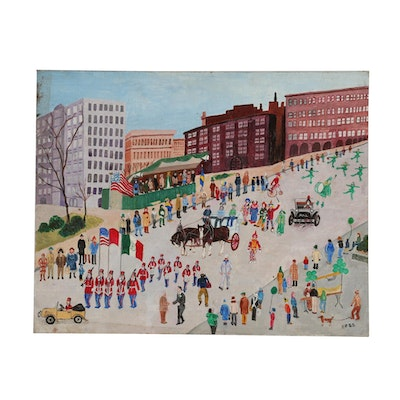 Inez Hess Acrylic Folk Painting of Parade Scene