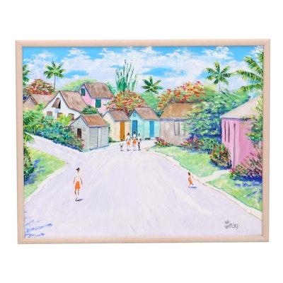 Mal Flanders Oil Painting of Suburban Street Scene