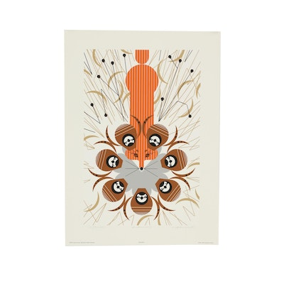 """Charley Harper 1983 Limited Edition Serigraph """"Quailsafe"""""""