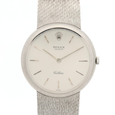 Vintage Rolex Cellini 18K White Gold Stem Wind Wristwatch