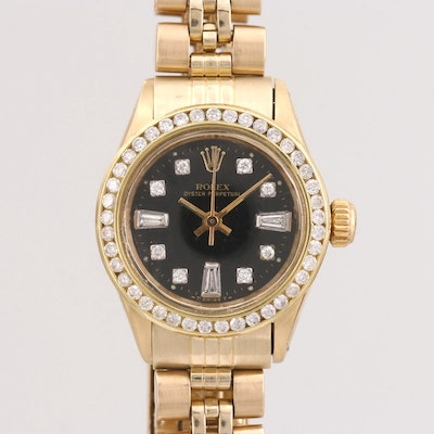 Vintage Rolex Oyster Perpetual 14K Gold and Diamond Automatic Wristwatch
