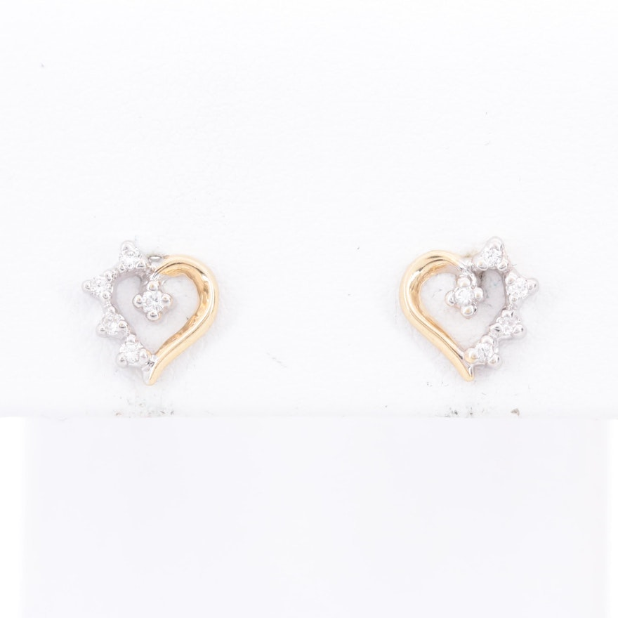 14K Yellow Gold  Diamond Heart Stud Earrings with White Gold Accents