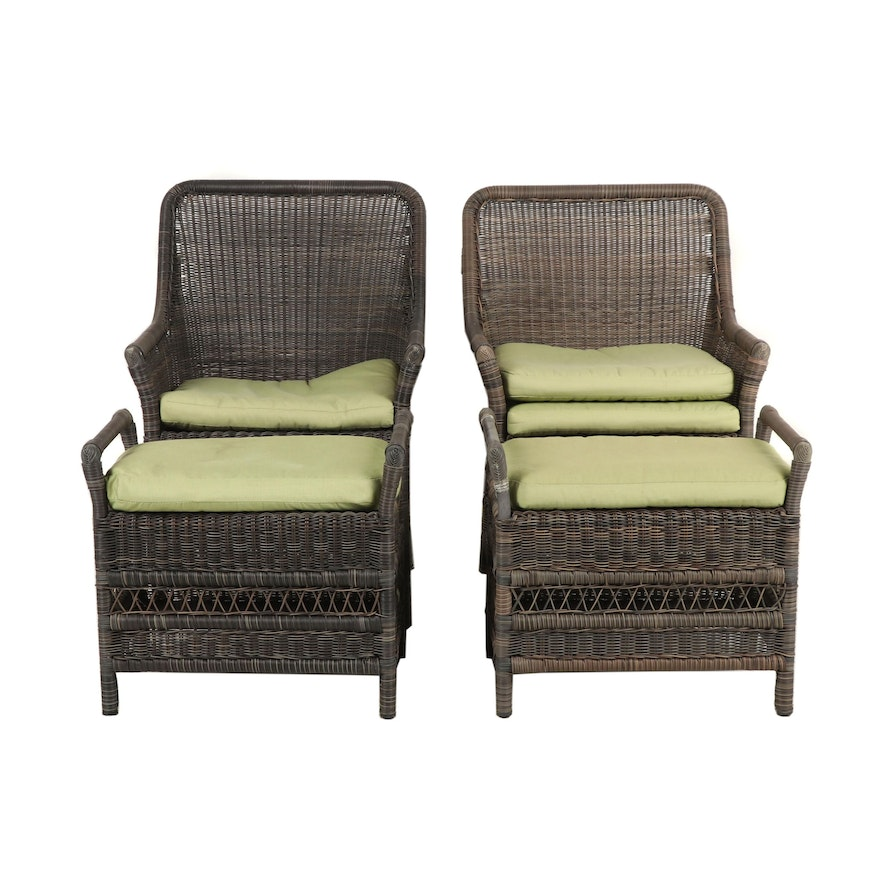 Pleasant Outdoor Patio Wicker Chairs With Ottomans Ibusinesslaw Wood Chair Design Ideas Ibusinesslaworg