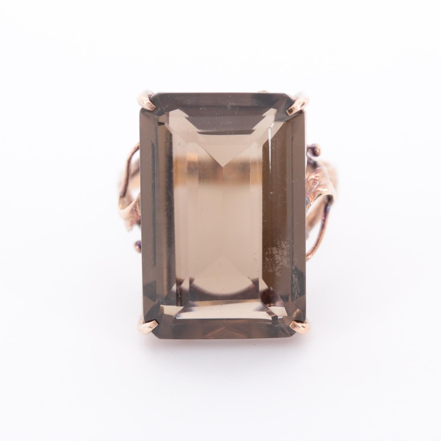 Vintage 14K Rose Gold Smoky Quartz Ring