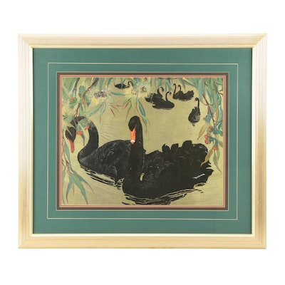 "Offset Lithograph after Jessie Arms Botke ""Black Swans"""