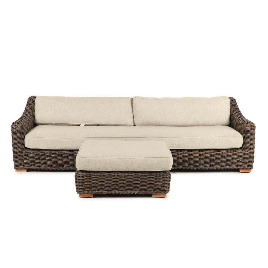 Wicker Patio Sofa With Cushions And Ottoman