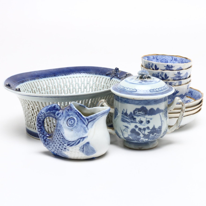 Chinese Blue and White Chestnut Porcelain Bowl and More Tableware