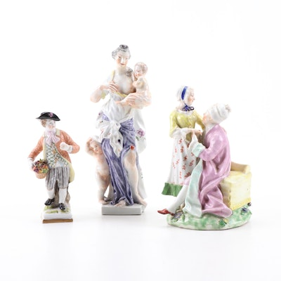 Vienna and Other European Hand-Painted Porcelain Figurines, Antique