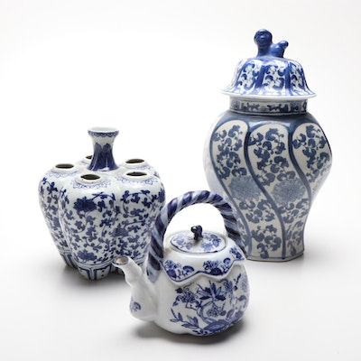 Chinese Blue and White Ceramic Tulip Vase, Teapot, and Lidded Jar