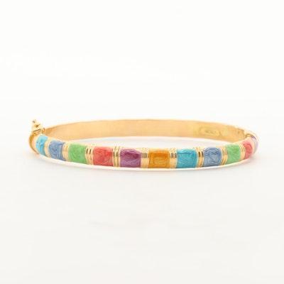 Italian 14K Yellow Gold Enamel Bangle Bracelet