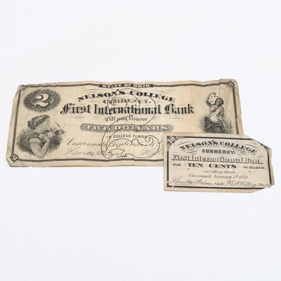 1870s Nelson's College Cincinnati Paper Currency