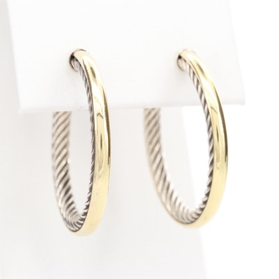 "David Yurman ""Cable Inside"" Sterling Hoop Earrings with 18K Yellow Gold Accents"