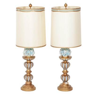 Painted Wood and Enamel Metal Body Table Lamps