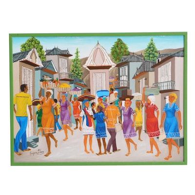 Gregoire Etienne Oil Painting of Haitian Street Scene