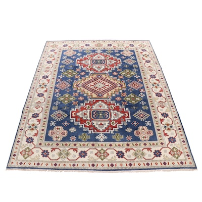 Hand-Knotted Indian Kazak Wool and Cotton Rug
