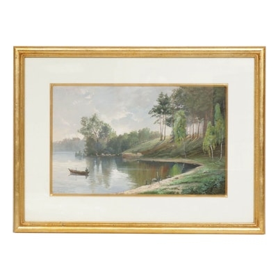 Müller Pankow Lake Landscape with Boat Watercolor Painting