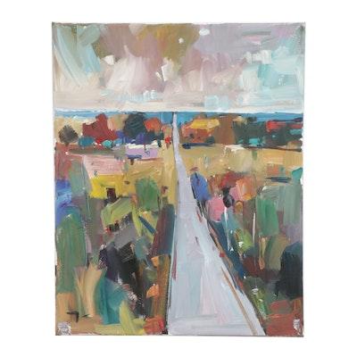 "Jose Trujillo Oil Painting ""Long Road"""