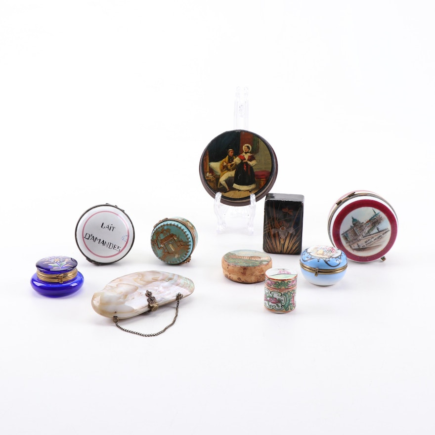 Lacquered and Porcelain Pill and Trinket Boxes, Antique