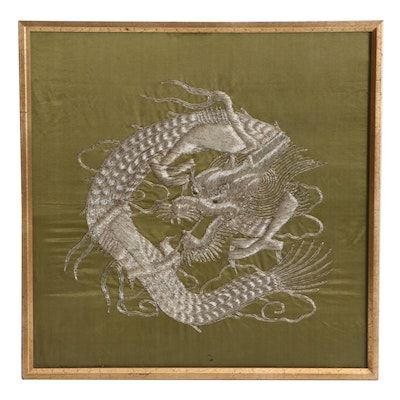 Chinese Dragon Embroidered Silk