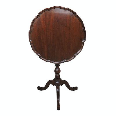 Ethan Allen Mahogany Tilt-Top Pie Crust Table, Late 20th Century