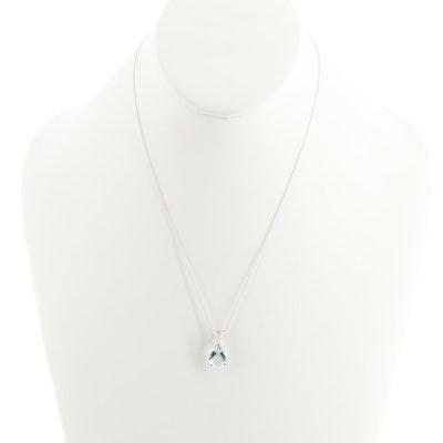 14K White Gold 3.14 CT Aquamarine Pendant Necklace