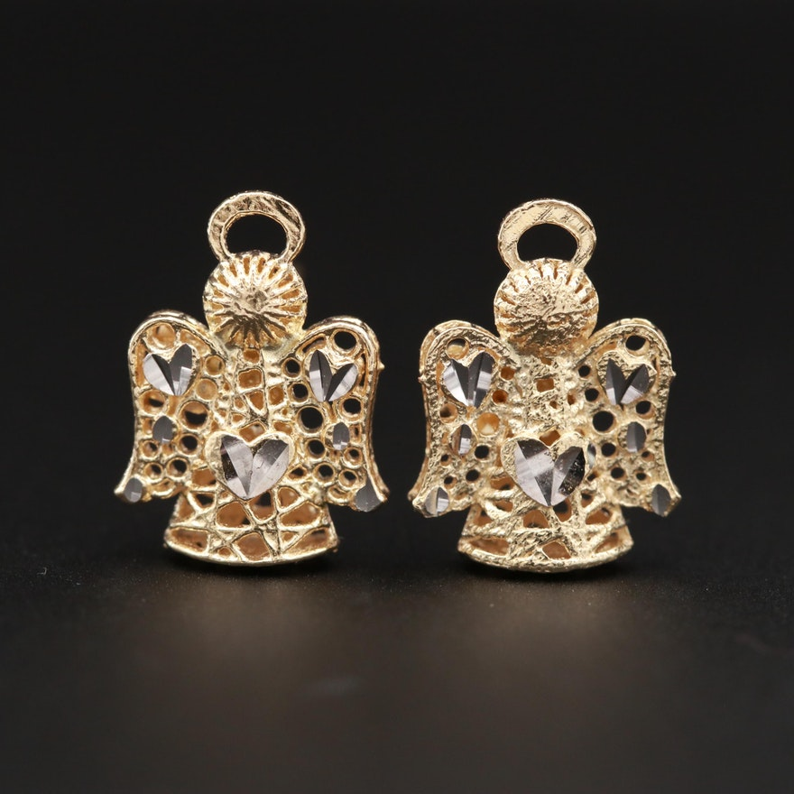 14K Yellow Gold Angel Stud Earrings with Diamond Cut Accents