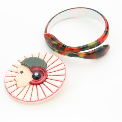 Lea Stein Celluloid Brooch and Bracelet
