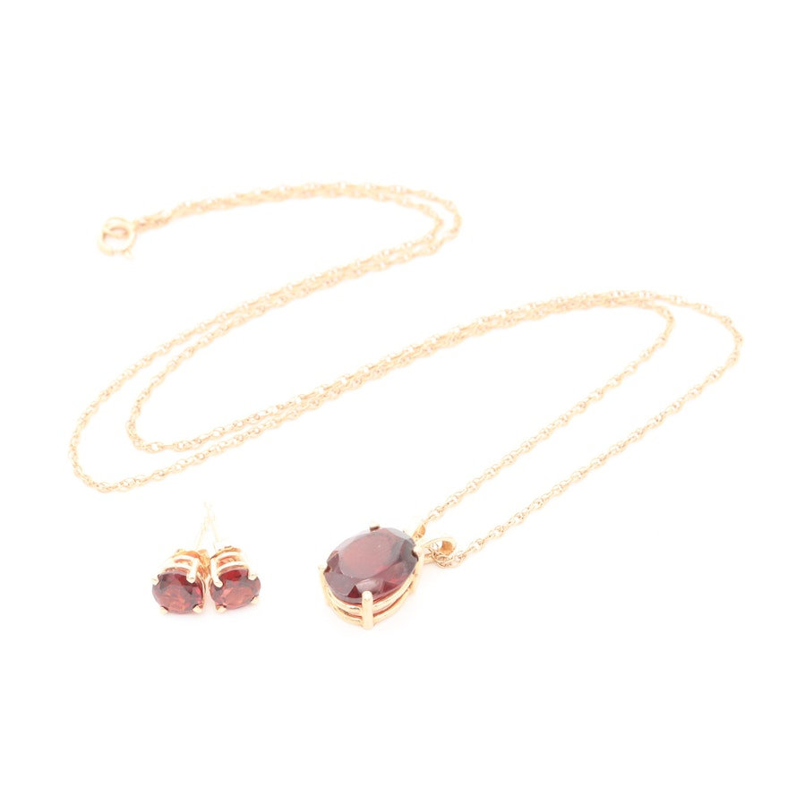 14K Yellow Gold Garnet Necklace and Stud Earrings