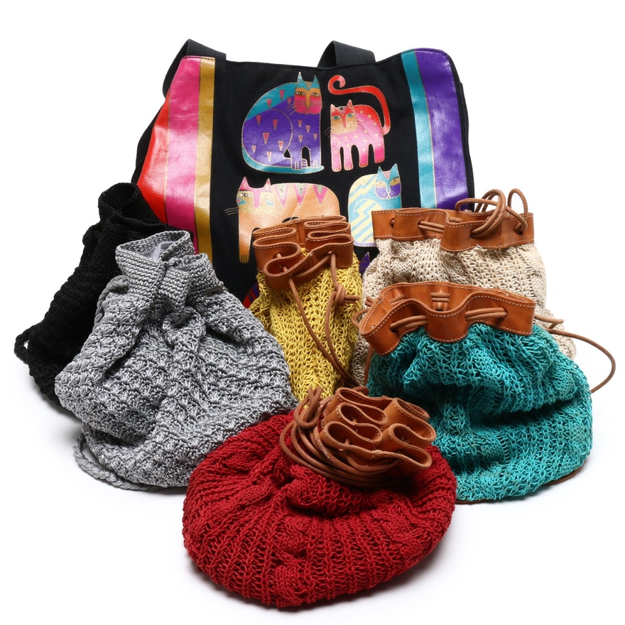 Laurel Burch Cat Motif Tote Bag, Spiegel Crochet Bucket Bags and More