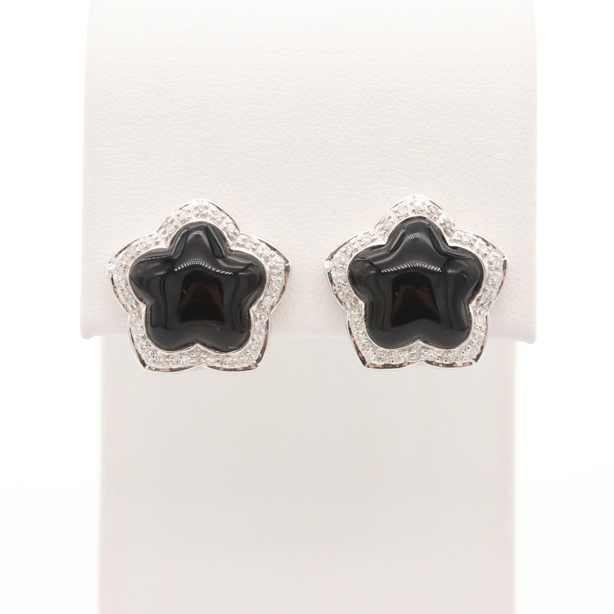 14K White Gold Black Onyx and Diamond Star Halo Earrings