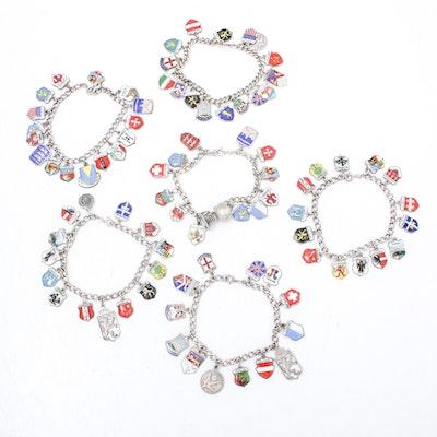 Sterling and 800 Silver Vintage European Souvenir Charm Bracelets