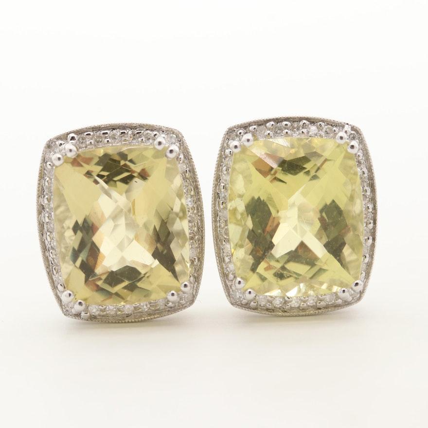 14K White Gold Citrine and Diamond Halo Earrings