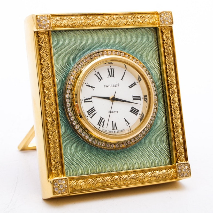 "Fabergé ""Catherine Palace"" Gold-Plated Guilloche Clock with Presentation Box"