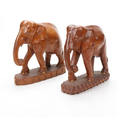 Elephant Carved Wooden Sculptures