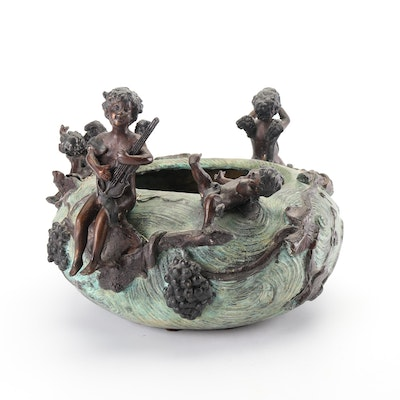 Embossed Brass Bowl with Angel Figures, Vintage
