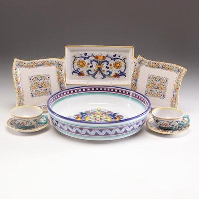 Deruta and Meridiana Italian Hand-Painted Serveware