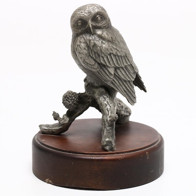 Metal Owl Figurine on Wooden Base, Mid to Late 20th Century