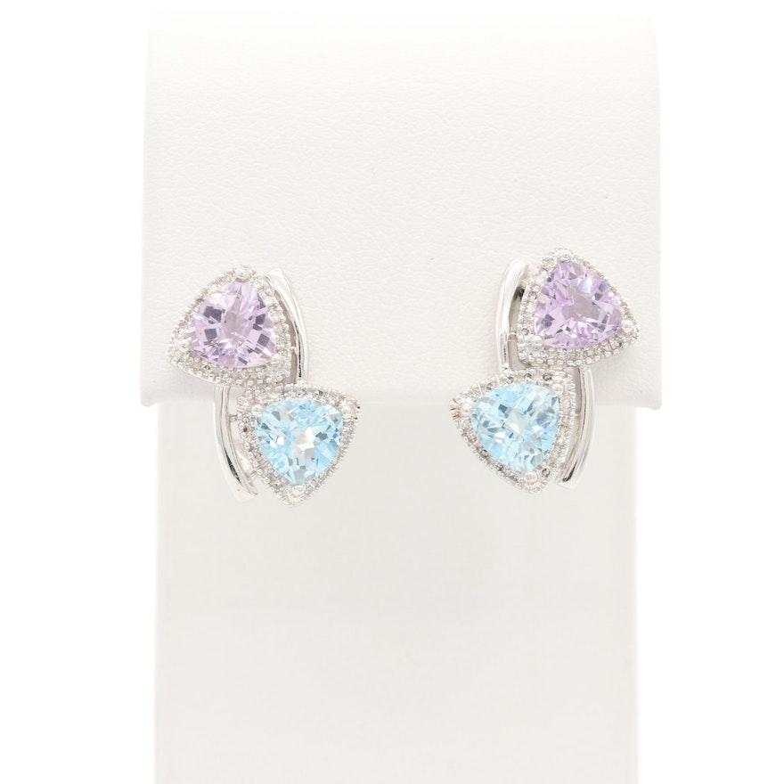 14K White Gold Topaz, Amethyst and Diamond Halo Bypass Earrings
