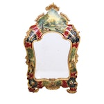 Venetian Rococo Style Painted Mirror, Late 20th Century
