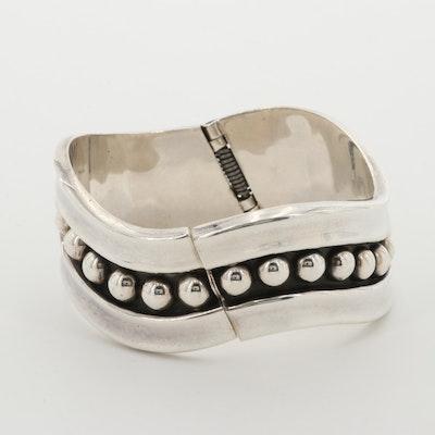 Sterling Silver Spring Hinge Bangle Bracelet