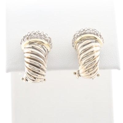 David Yurman Sterling Diamond J-Hoop Earrings with 18K Yellow Gold Accents