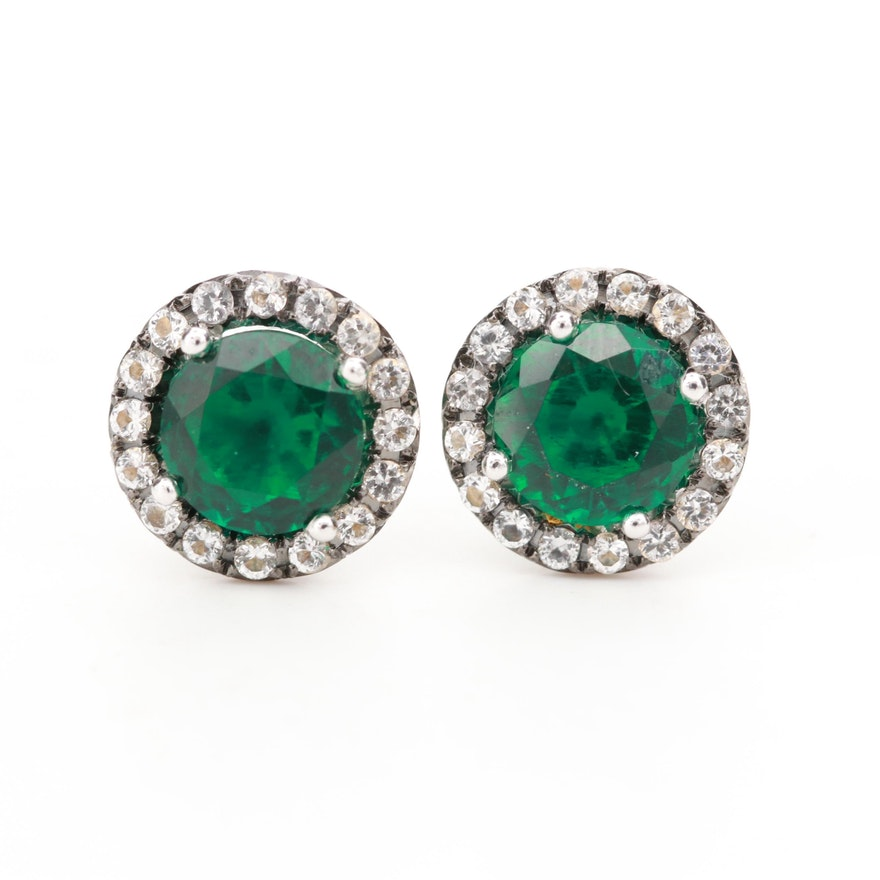 10K White Gold Emerald Earrings with Diamond Halos