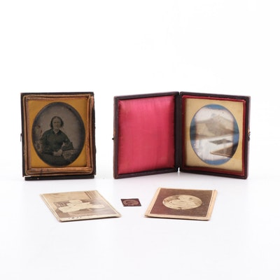Antique Portraits and Cases including Hidden Mother Portrait of a Baby