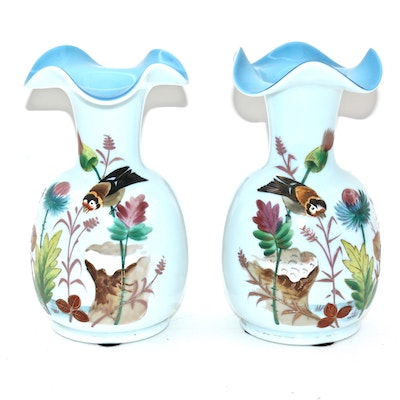 Hand Painted Bristol Glass Vases, Late 19th Century