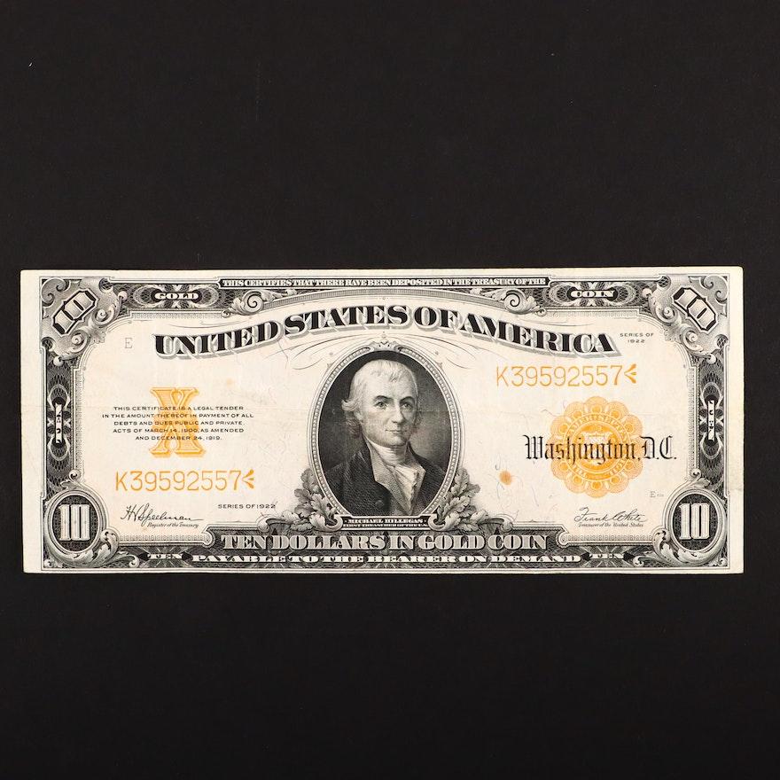 Series of 1922 U.S. $10 Gold Certificate