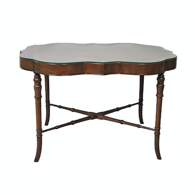 Regency Style Mahogany-Finish Glass Top Display Table, Late 20th Century
